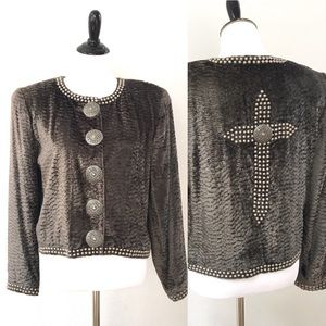Double D Ranch Studded Cross Jacket Size Small
